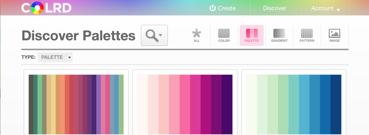 The Colrd palette section showcases other users' color palettes
