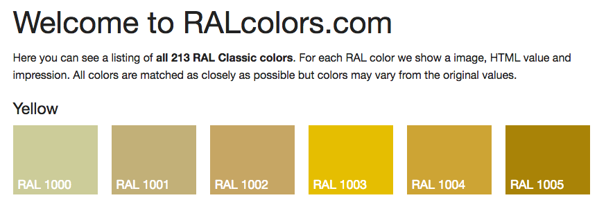 RAL Colors .com website image