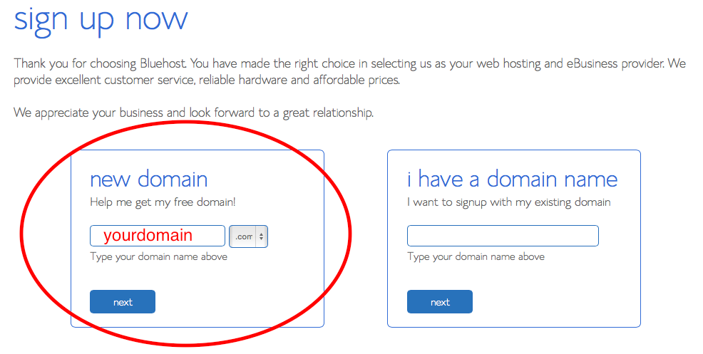bluehost domain step 1