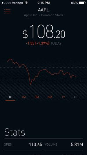 robin hood stock review app screenshot