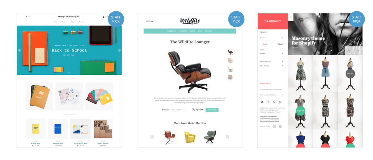 featured themes from shopify