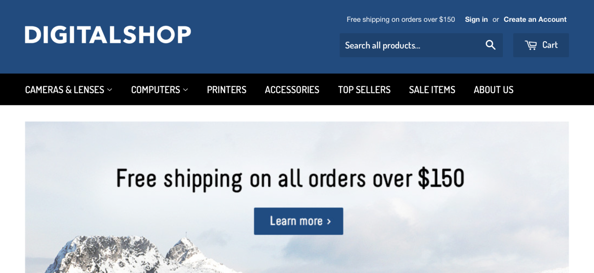 shopify free theme supply - used for large inventories
