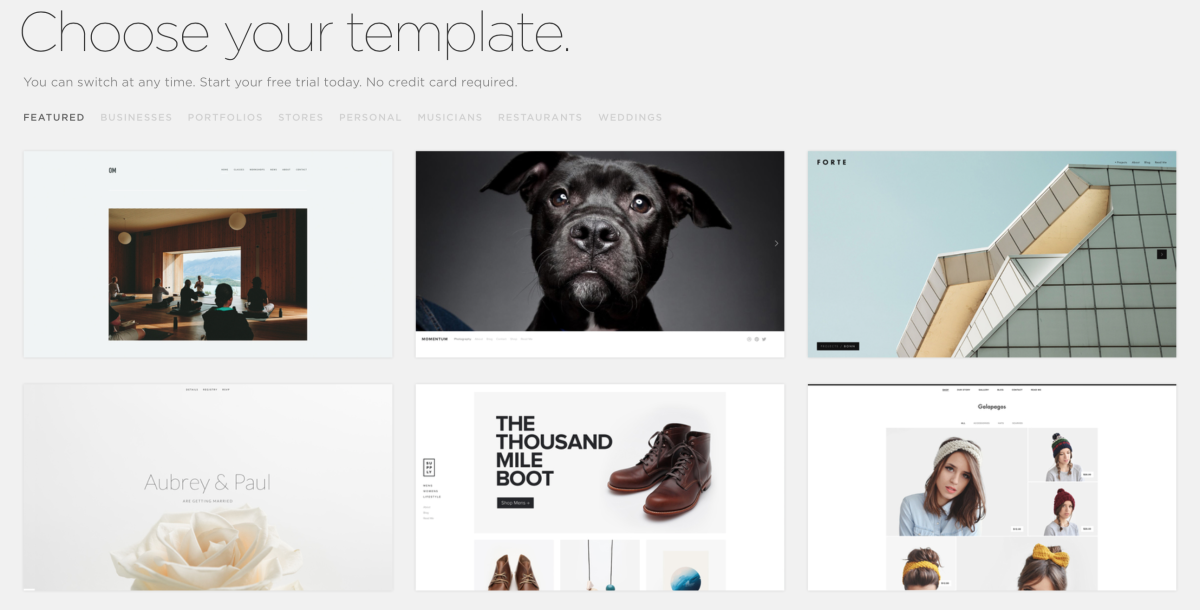 squarespace templates screenshot