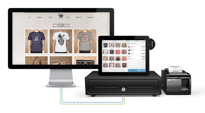 photo of the shopify POS system inside a store