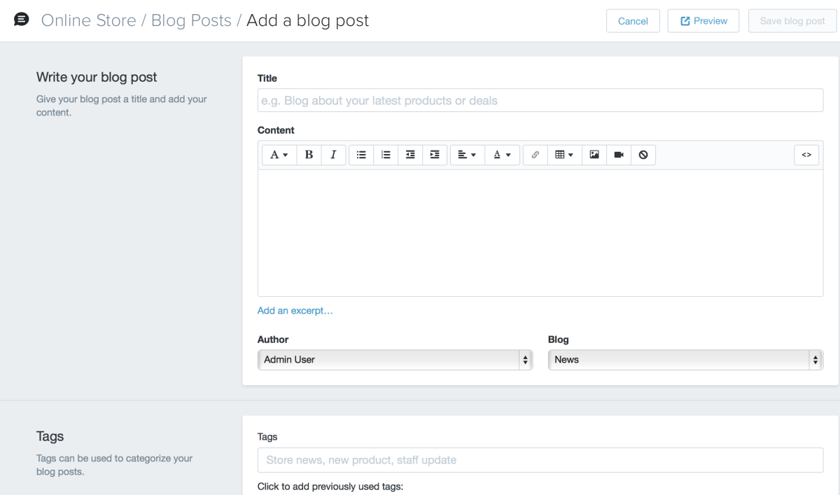 a look at blogging on shopify