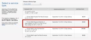 regional flat rate envelope option on usps.com