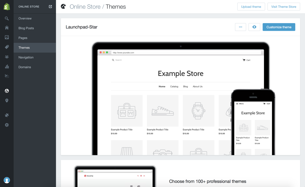 shopify theme customization screen