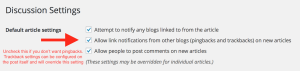 pingback settings in the general section of the wordpress administrator zone