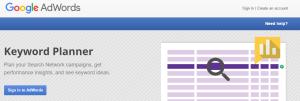 google keyword planner homepage