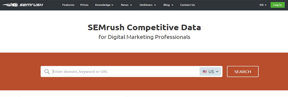 homepage for SEM Rush