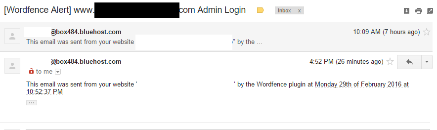 check your wordfence settings to disable emails like this!