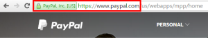 Example of the EV SSL certificate on PayPal.com