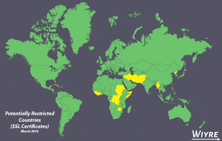 countries that may or may not be banned from being issued an ssl certificate depending on your registrar
