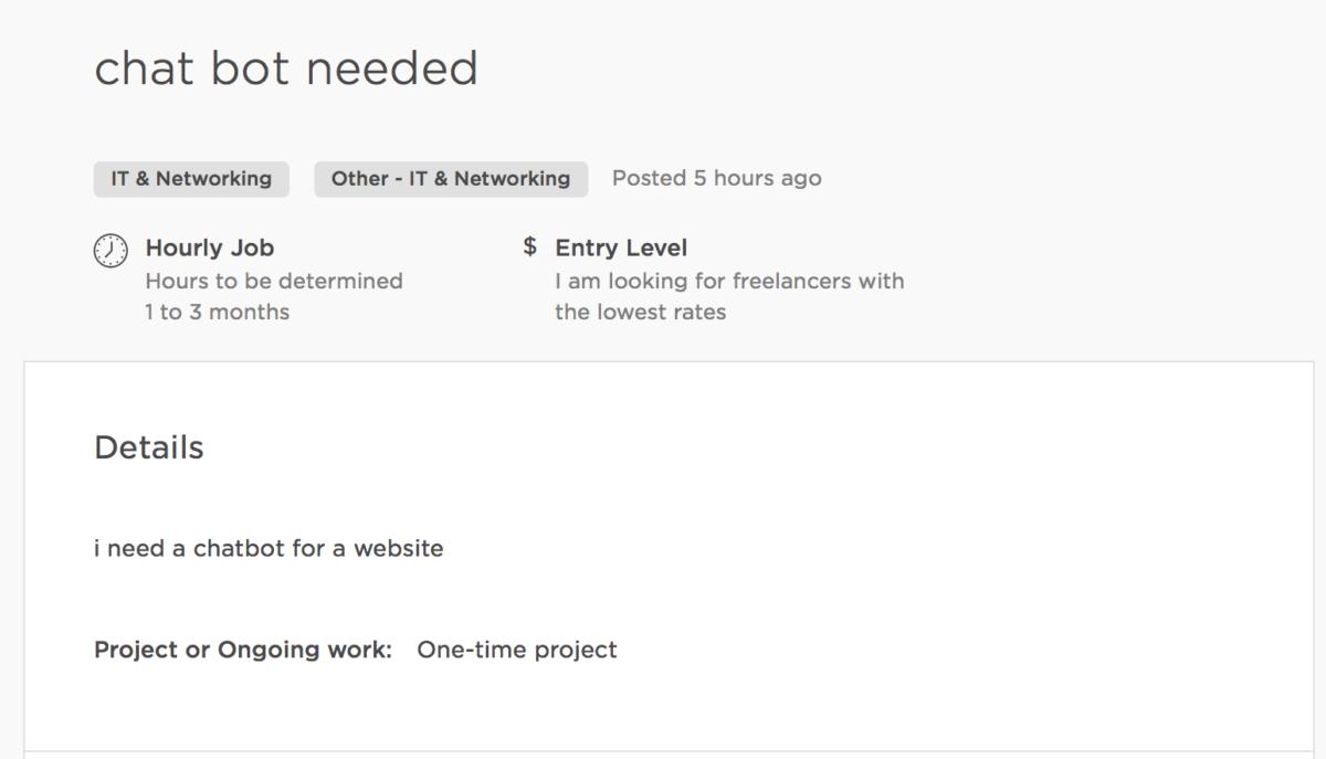 awful description of a job on upwork.com