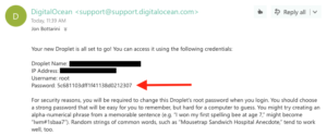 this is where you can find the root user password on DigitalOcean