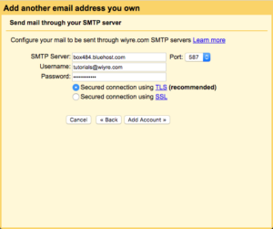 how to add a bluehost email account to Gmail