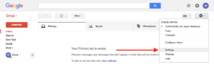 gmail settings location under the gear icon
